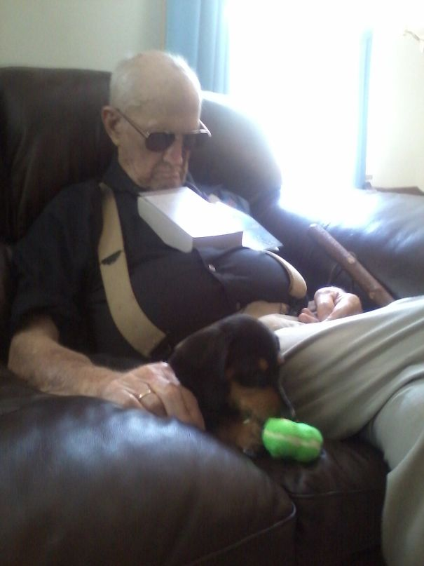 """When Asked Why He Got A Puppy At 93 Years Old, My Great Grandfather Responded """"Women Love Puppies"""" So Here Is The Picture Of Him And His Little Wingman Fritzy"""