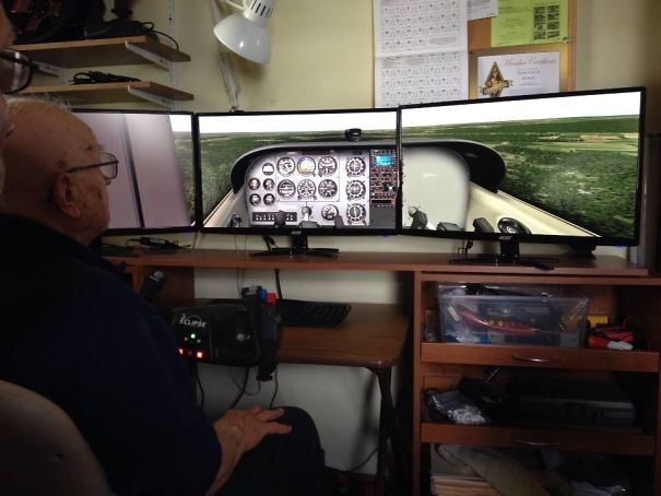 My 90 Year Old Grandfather At His Battlestation. He Was The Person Who Introduced Me To Several Tech Things, Such As A PC, An iPad, And A Tesla