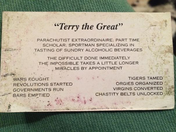 My Grandpa Gives Out This Business Card To Anyone He Meets