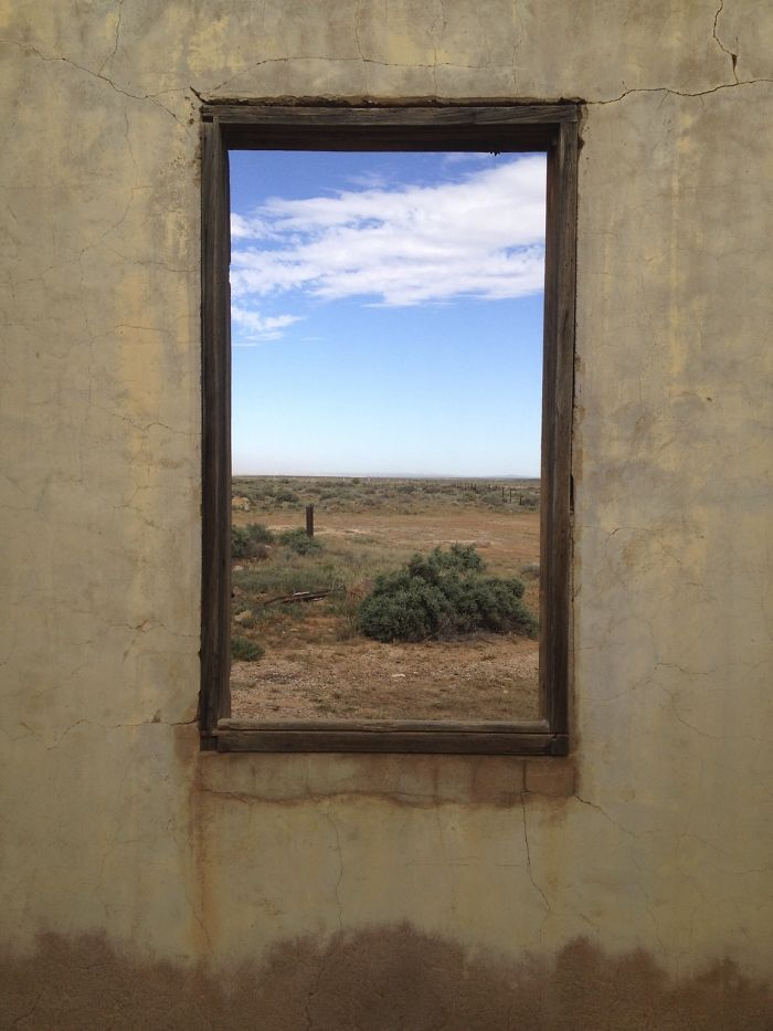Looking Out Of A Ruin In Outback Australia. Kind Of Looks Like A Picture Frame On A Wall