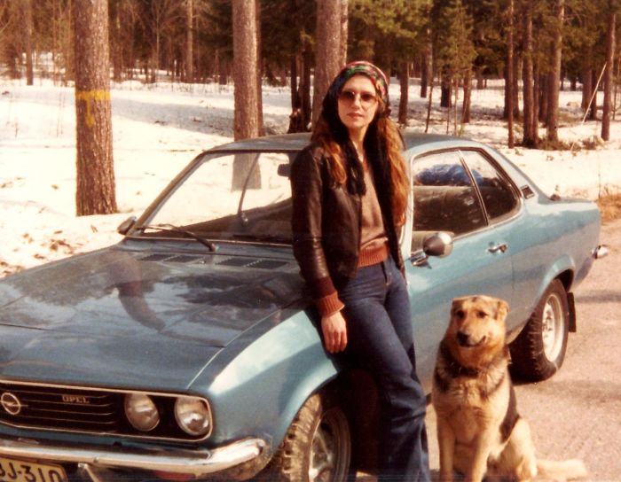 My Dear Mom In The 70's With Her German Shepard And Manta