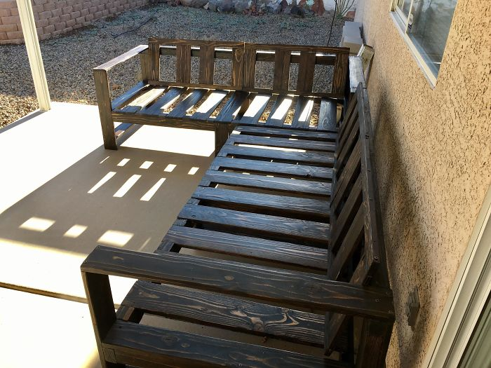 Couldn't Find Patio Furniture That Didn't Cost A Over $2k. Made This For About $27 (reclaimed Wood Was Free)