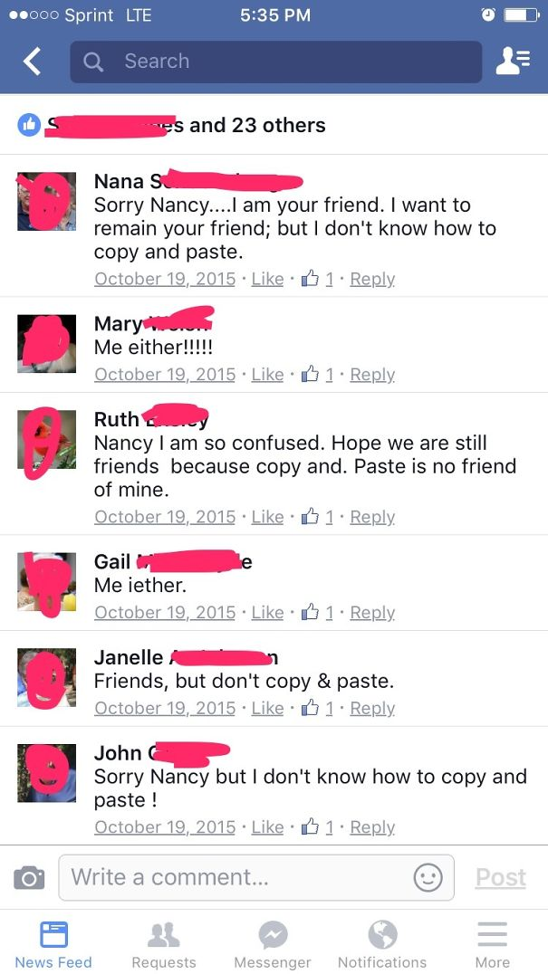 My Grandma Asked People To Copy And Paste Her Status To Show Their True Friendship