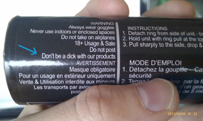 Smoke Grenade Instructions..