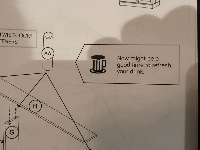 The Instructions For This Furniture Tell Me To Grab A Beer.