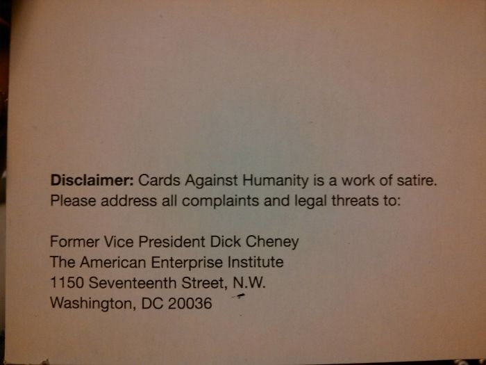 Never Noticed This On The Back Of The Cards Against Humanity Instructions.
