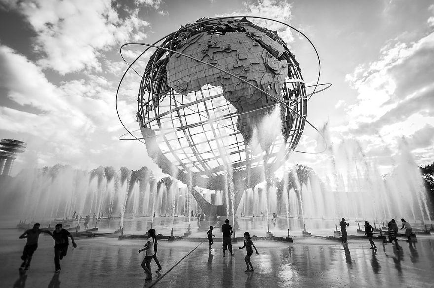Unisphere Fountain, New York, USA