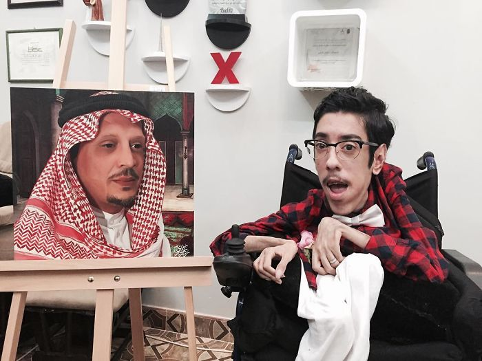 A Saudi Artist With Handicap Paints Wonderful Paintings
