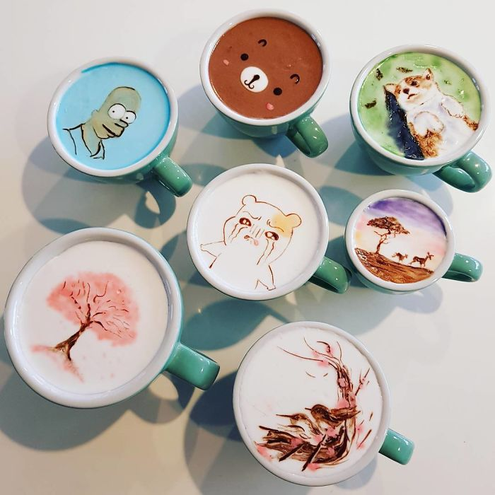 Artistic Barista From Korea Who Draws Art On Coffee.