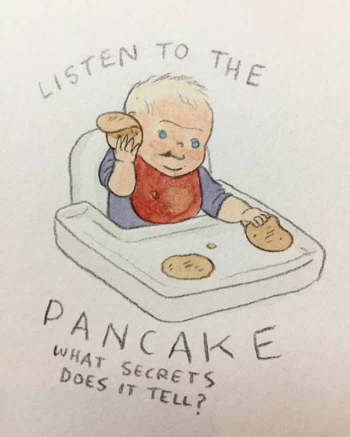 Pal Was Very Intent On What The Pancake Had To Say