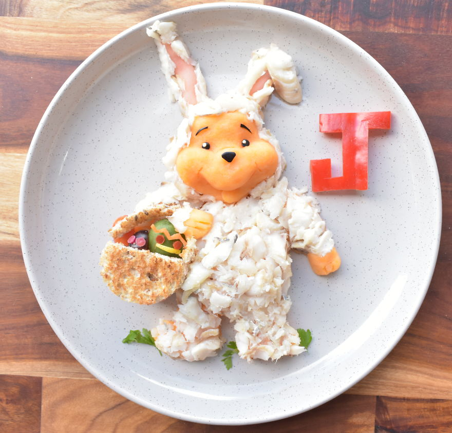 Winne The Pooh Dressed As The Easter Bunny - Whiting With Sweet Potato Mash