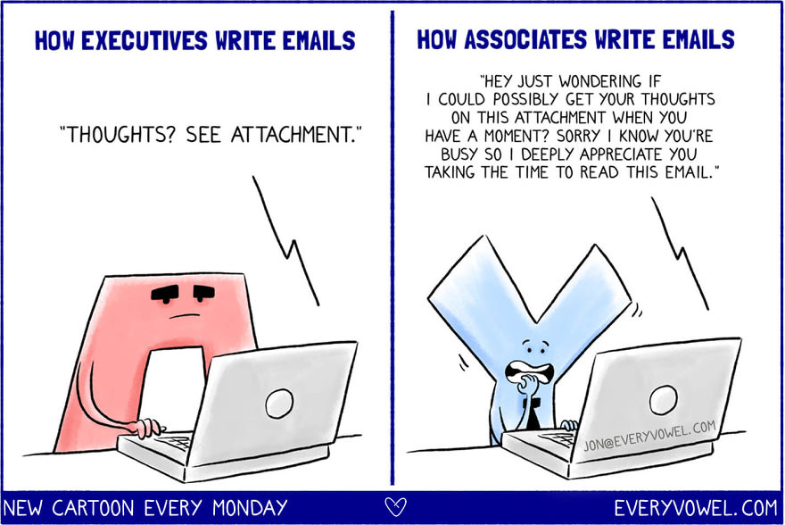 """I'm Embarrassed To Say This Cartoon Is Based On A Real Experience From My First Months Working At Google. I Sent That Lengthy Email. Afterwards, My Boss Took Me Aside And Said: """"you Sound Like You're Fresh Out Of College."""" To Which I Replied, """"but I Am Fresh Out Of College!"""" And He Said: """"right, But That Doesn't Mean You Should Sound Like It."""" I'll Never Forget That. He Taught Me How To Be Less Apologetic. To Remove The Word """"just"""" From My Vocabulary. And To Stop Asking For Permission. In Talking To Friends, I Realized That I'm Not Alone. It's Easy To Be Submissive When You Don't Realize It. Be Concise. Be Clear. You Don't Need To Be Senior To Speak Like It."""