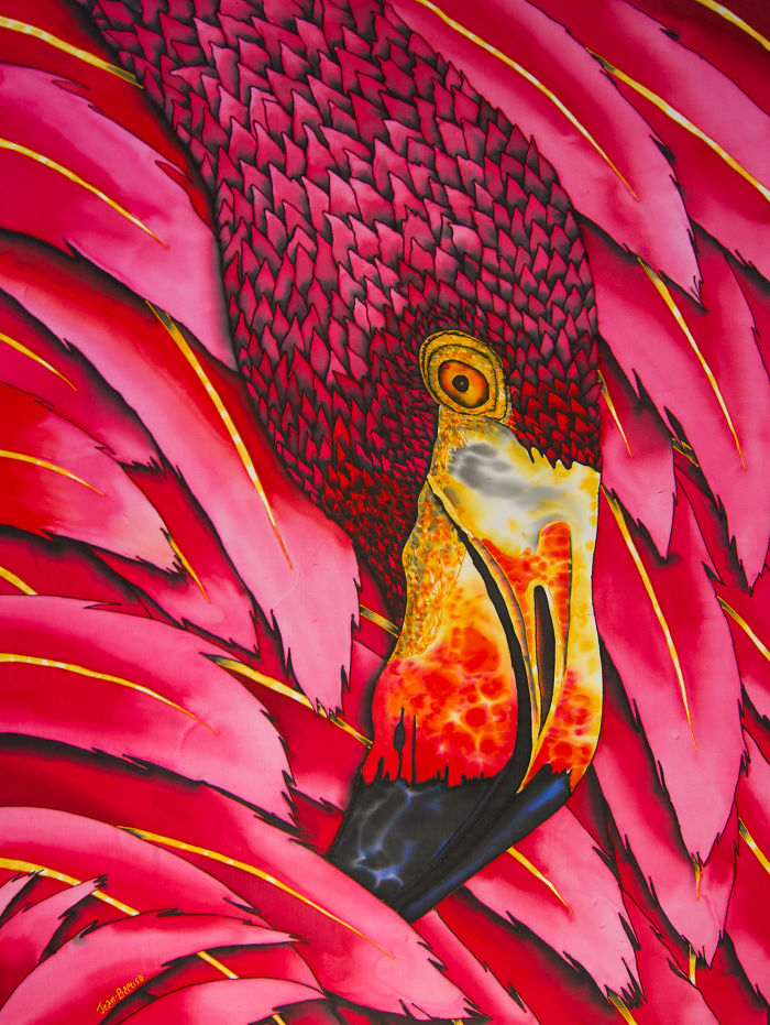 Flaming Flamingo Comes To Life In Batik Painting On Silk