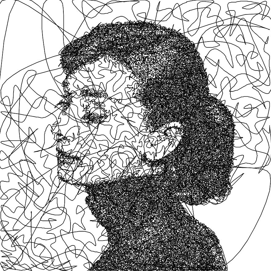 The Line Artwork : I wrote an algorithm that doodles drawings from a single