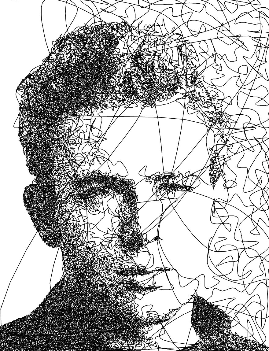 Xfig Line Drawing : I wrote an algorithm that doodles drawings from a single