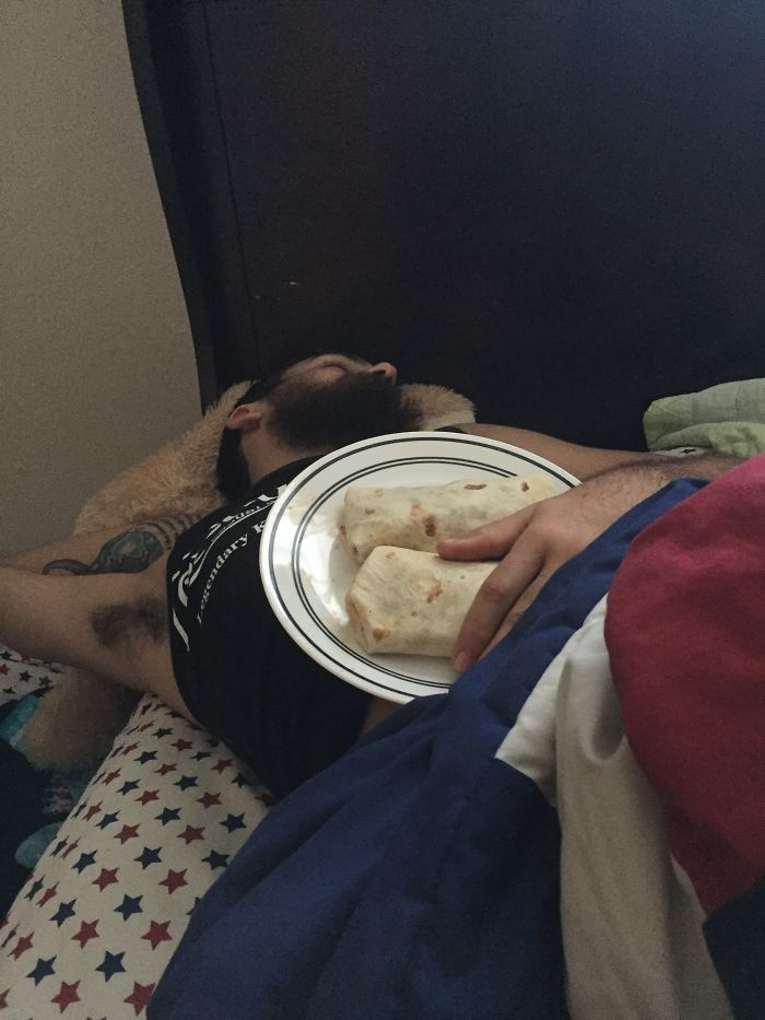 Found My Boyfriend In Bed, Asleep, And Cuddling His Burritos He Asked Me To Make For Him