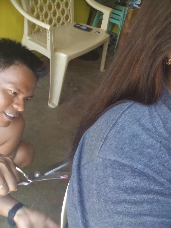 I'm Sitting And Browsing The Net When Suddenly He Says To Stay Still Cause He's Cutting My Hair To Make It Straight.