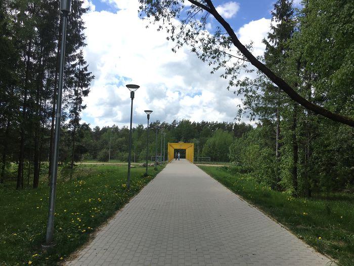 Pedestrians Tie Bridge