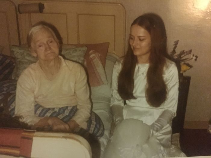 My Mum On Her Wedding Day Sitting Next To My Dads Grandma. In 1971.