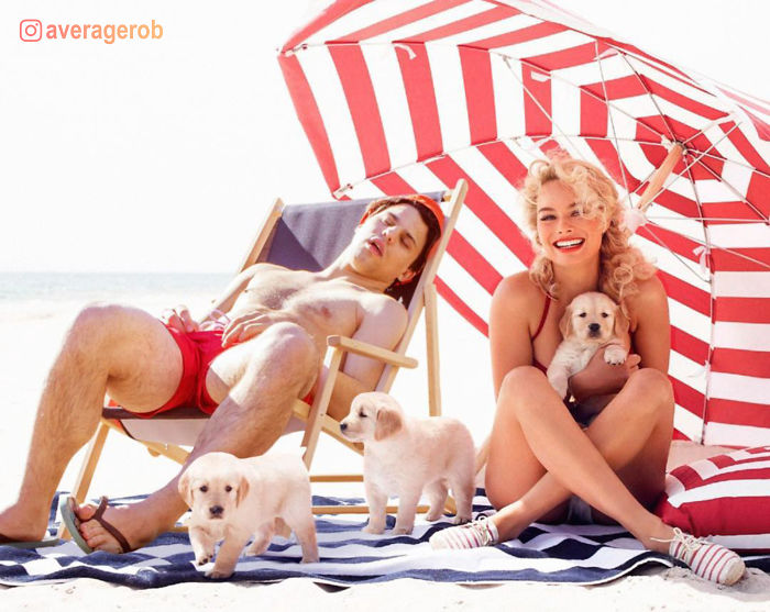 Margot Robbie, Puppies And A Sleepy Idiot
