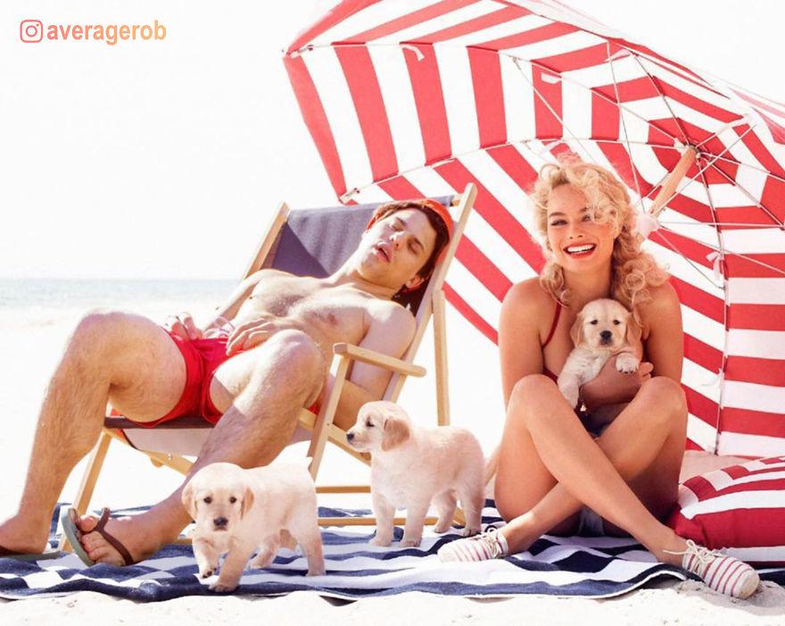 Margot Robbie, Puppies And A Sleepy Idiot