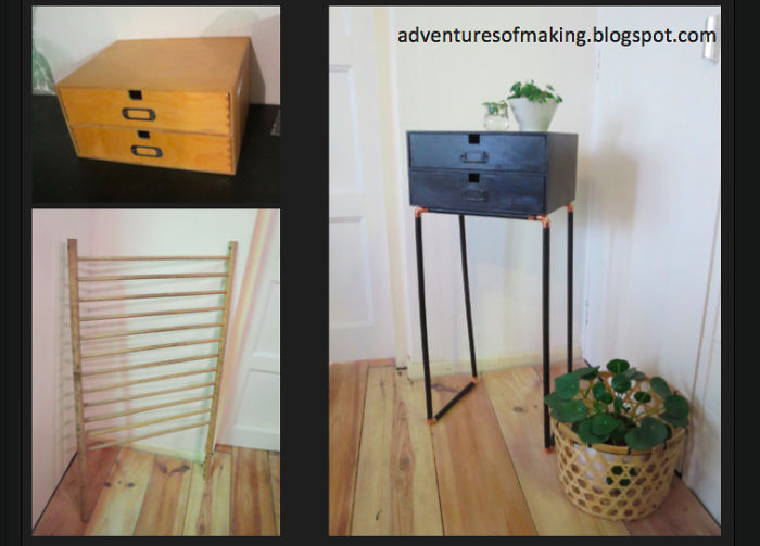 Fancy Side Tables Are Expensive.... So I Made From An Old Desk Organizer And The Side Of A Playpen