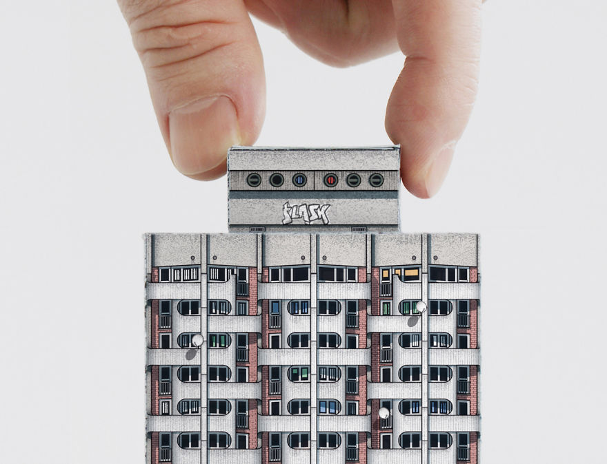 """Detail Of The Paper Model: """"manhattan"""" Housing Complex (wroclaw) From Brutal East, 2017"""