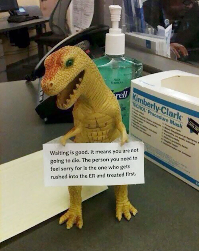 Hospital T-rex Has A Reminder For You