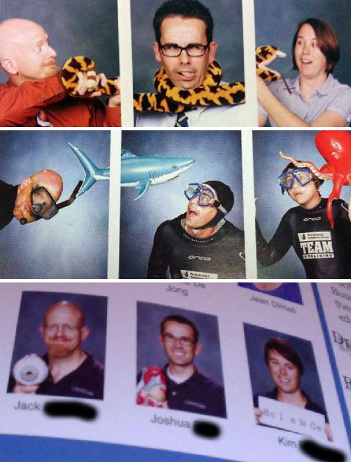 Estos 3 profesores siempre hacen algo divertido en las fotos del anuario