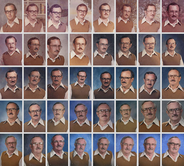 Teacher Wears Same Clothes In School Pictures For 40 Years
