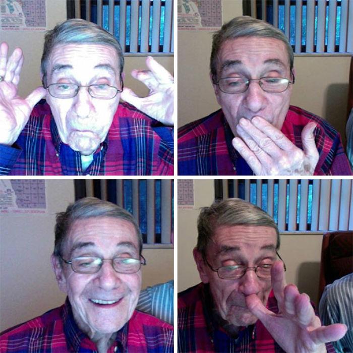 He descubierto que mi abuelo tiene un facebook, y estos son los selfies que se hace