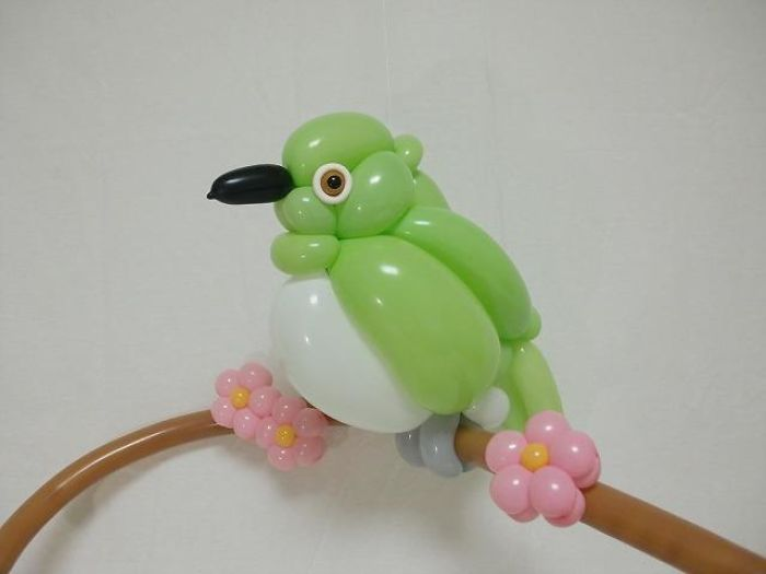 Japanese White-Eye figuras hechas con globos inflables