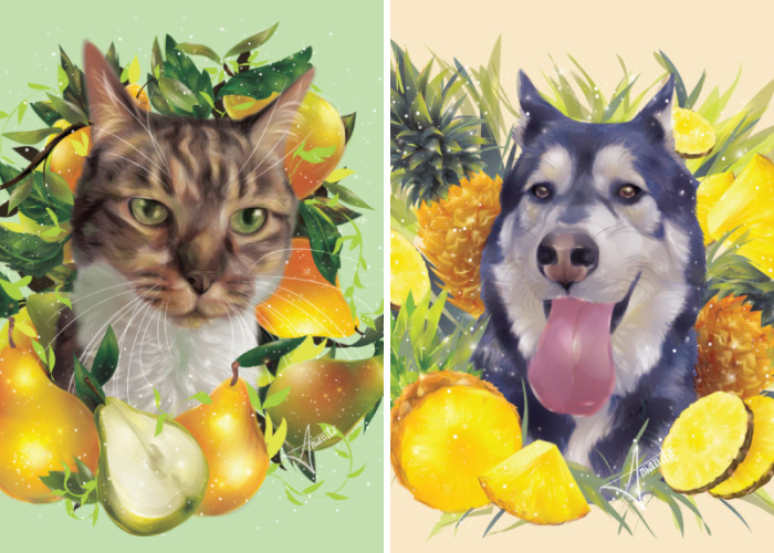 I Illustrate Pets Surrounded By Food