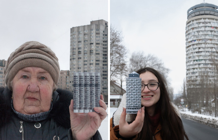 Portraits Of Tenants Holding Replicas Of Their Concrete Homes Awaiting Demolition