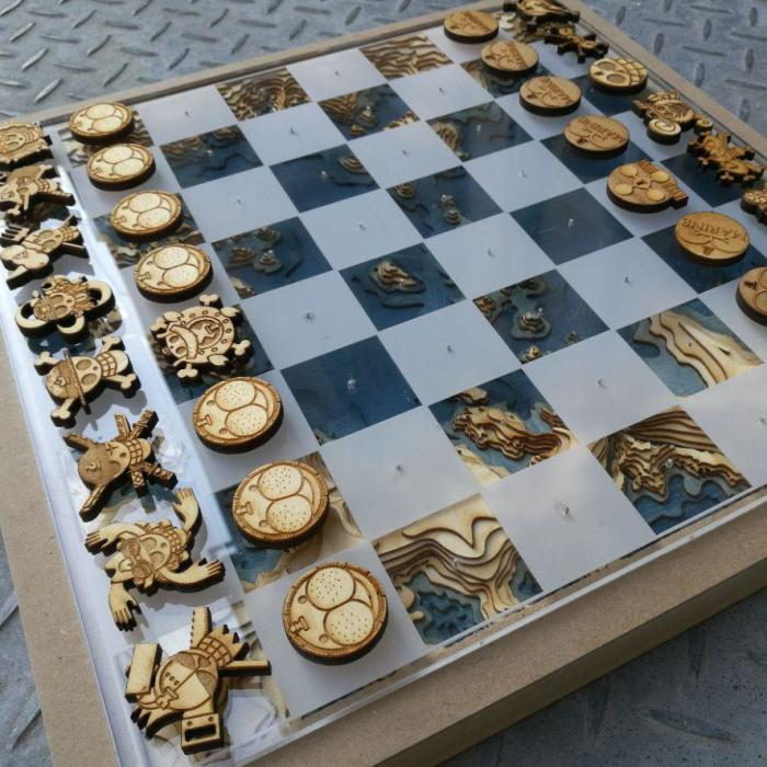 Custom-Made One Piece Chess Set
