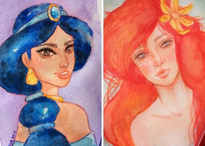 I Illustrated Disney Princesses Using Watercolors