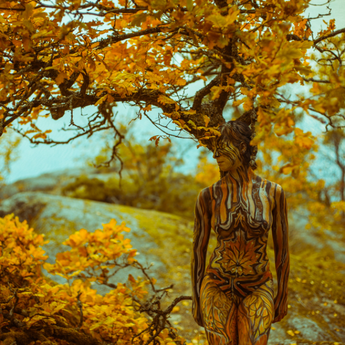 Bodypainting That Speaks About Human And Nature Relationship By Artist Vilija Vitkute