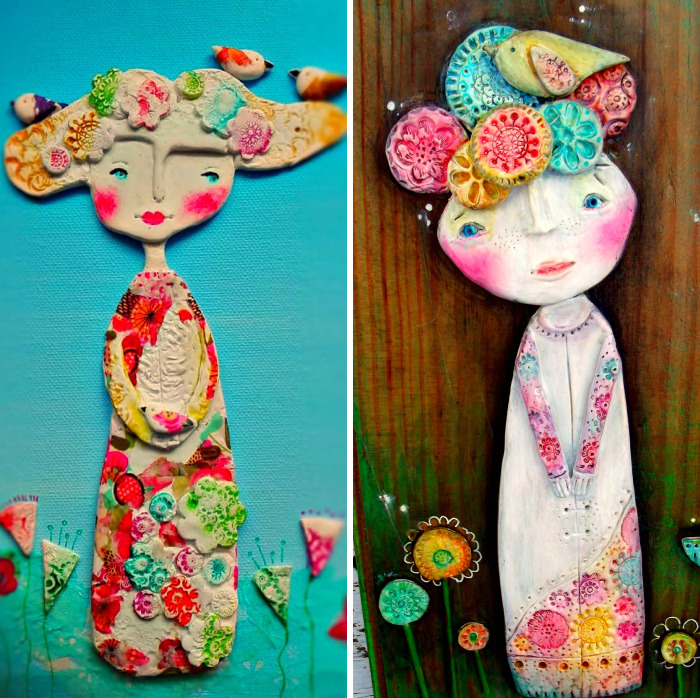 I Create Whimsical Art Out Of Air Dry Clay, Paper, And Water Color Paint