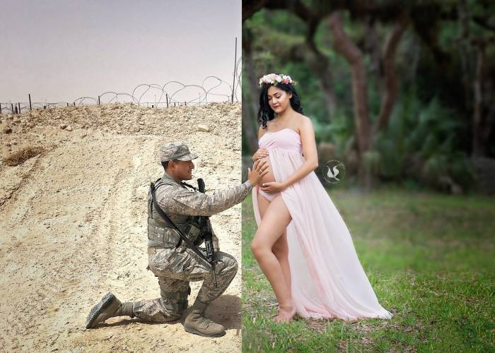 Deployed Husband Can't Come To Wife's Maternity Photo Shoot, So She Comes Up With A Heartwarming Idea
