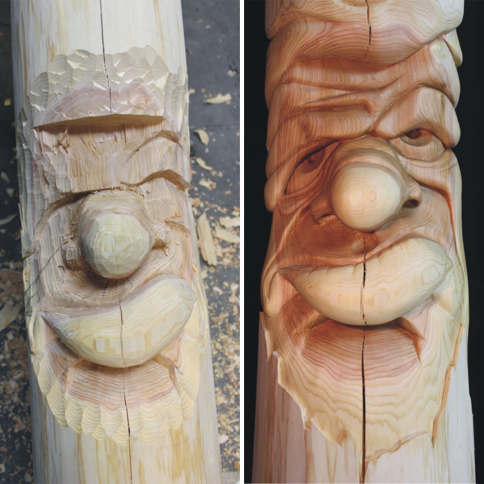 Two 10 Foot Tall Carved Cedar Posts Complete With Attitude