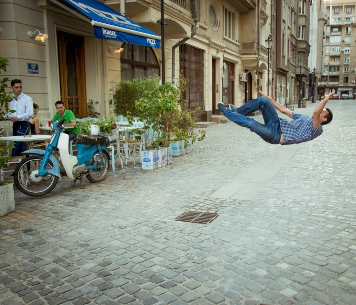 I Captured My Falling Friend In Bucharest And We Got Strange Looks From The Passers-By