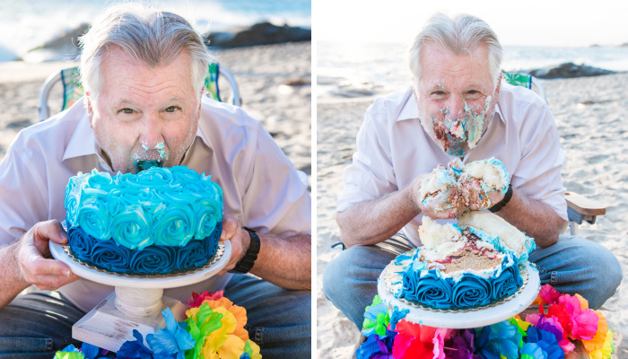 I Made My Dad Do A Cake Smash For His 70th Birthday