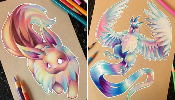 I Create Prismatic Pokemon Art With Colored Pencils