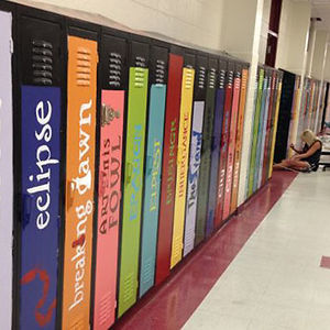 """School Paints Lockers As Book Spines To Create An """"Avenue Of Literature"""""""