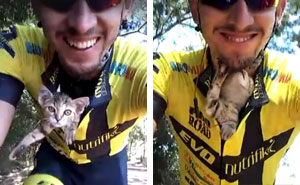 Cyclist Saves A Lost Kitten By Tucking Him In His Shirt, The Cat Can't Stop Kissing Him