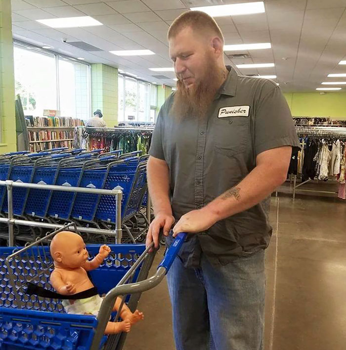 This Intimidating Guy Took A Baby Doll Shopping With Him, And The Story Behind It Is Amazing