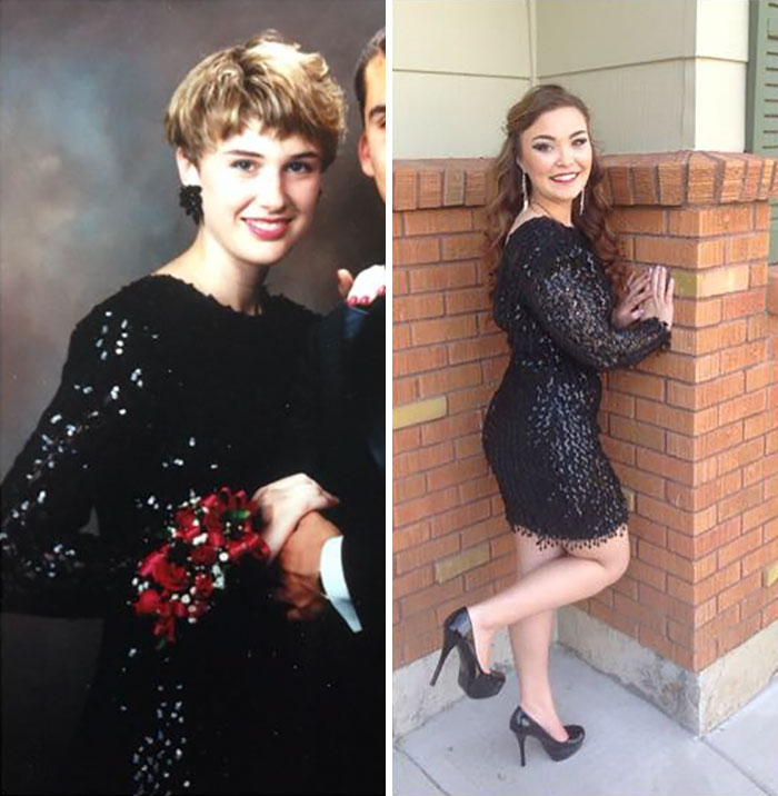 Me At Prom On The Left In 1990. My Daughter In My Dress Going To Her Prom In 2014