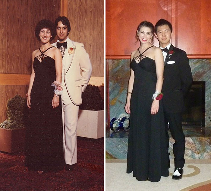Since I Was Wearing My Mom's Senior Prom Dress From The '70s, We Had To Recreate This Gem