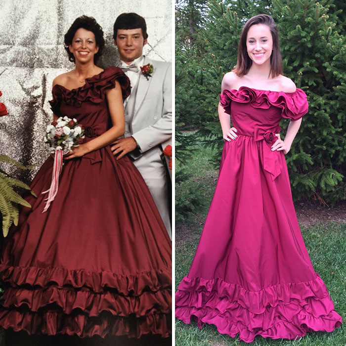 My Mom Had Been Saving Her Old Prom Dress For All These Years Just So Her Future Daughter Could Try It On