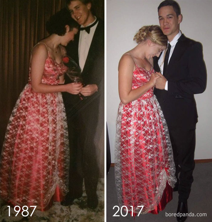 Wore The Dress My Mum Made When She Was 17. In 1987. And Wore It To My Senior Ball Last Weekend (2017)